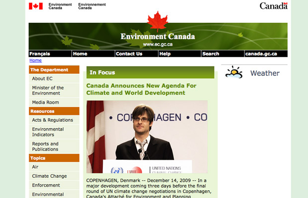 Faux Environment Canada Website