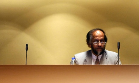 Pachauri in his pre -bewigged days, circa 2010 [Chairman of the Intergovernmental Panel on Climate Change (IPCC), Rajendra Pachauri prepares for a press conference at the United Nations building in Bangkok. Photograph: Saeed Khan/AFP/Getty Images]